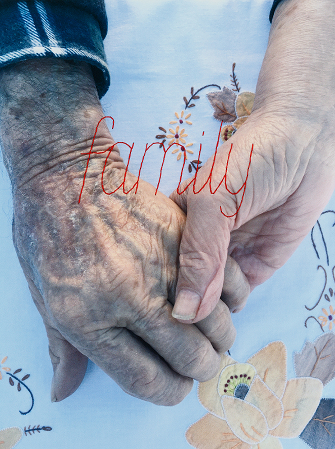 Covid Hands – family (detail). Red thread stitched onto photographic paper. 20 images each 25.5h x 20 w cm, overall dimensions 55h x 300w cm