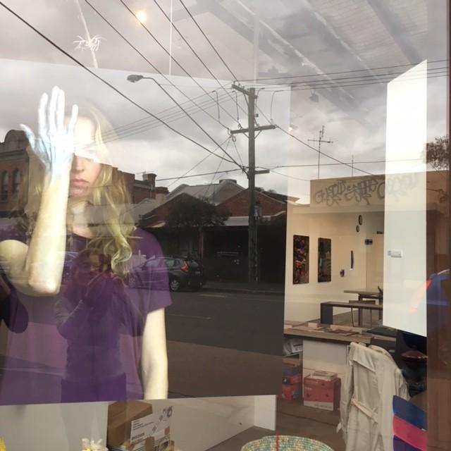 VIVID, Installation View, in the window Ilona Nelson