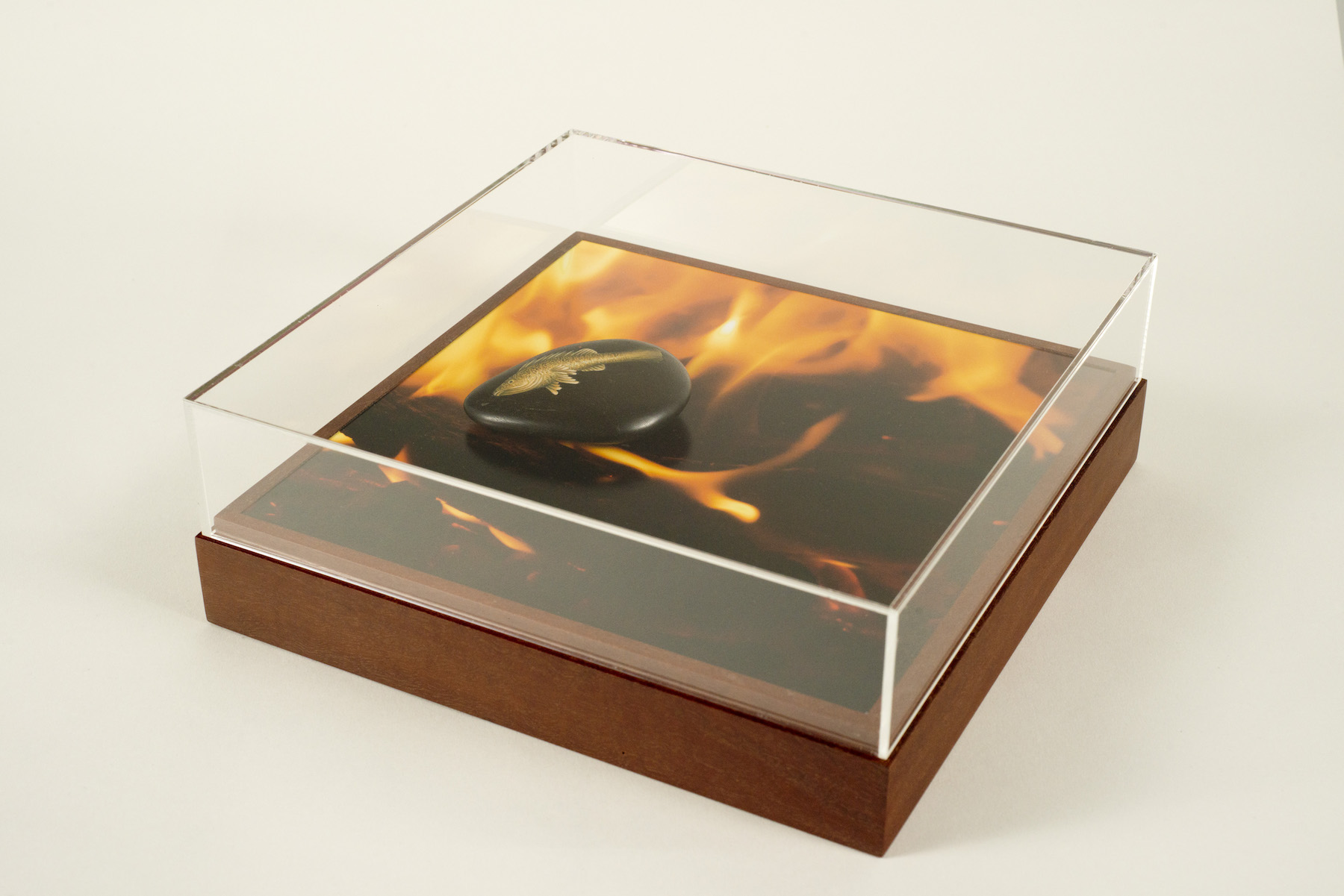Elementals – Fire, gouache, petrified redgum, colour photograph on dibond, redgum and perspex, 25 x 25 x 9cm, 2017-18