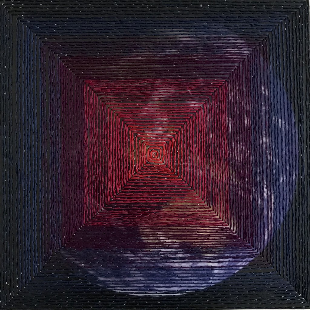Covid Quilt –  Ring of Steel (front) 15.5 x 15.5 cm, Cotton thread on paper, 2020 (Lockdown 2)