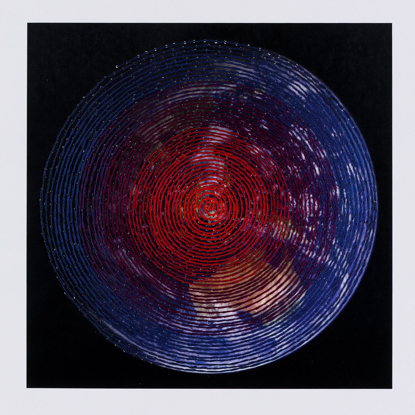 Covid Quilt - spiral (front) 15.5 x 15.5 cm, Cotton thread on paper, 2020 (Lockdown 1).