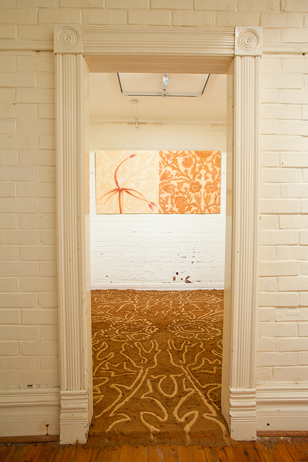 Wallpaper – Mirror, rorriM, 2011, Pastel on paper, 108h x 216w cm, Mildura dirt and Murray River sand, dimensions variable.